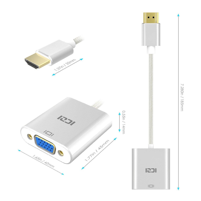 MacBook Raspberry Pi Chromebook Bianco HDTV Portatili ICZI Adattatore HDMI a VGA Alluminio Convertitore Cavo 1080p Full HD Placcato in Oro per PC Apple TV