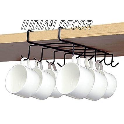 Indian Decor 7311 Tea Cup Holder Under Shelf 10 Hook Coffee Mug Holder Kitchen Storage Ideas Black