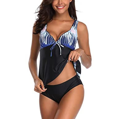 540d5c2da5 Amazon.com: Howley Bikini Women Tankini Sets with Boy Shorts Ladies Bikini  Swimwear Push-Up Padded Bra Swimsuit: Clothing