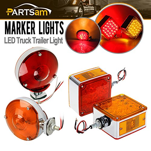 Partsam Submersible,Double Face,Pedestal Lights,2pcs 4″ 24 LED Red/Amber+2pcs Square Amber/Red 52 LED Stop Turn Tail Light for Heavy Duty Trucks Peterbilt Freightliner Kenworth Mack Western Star