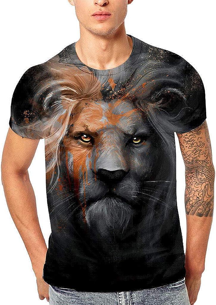 HELLOSAY Mens 3D King of Prairie Printed Tees Short Sleeve T-Shirt