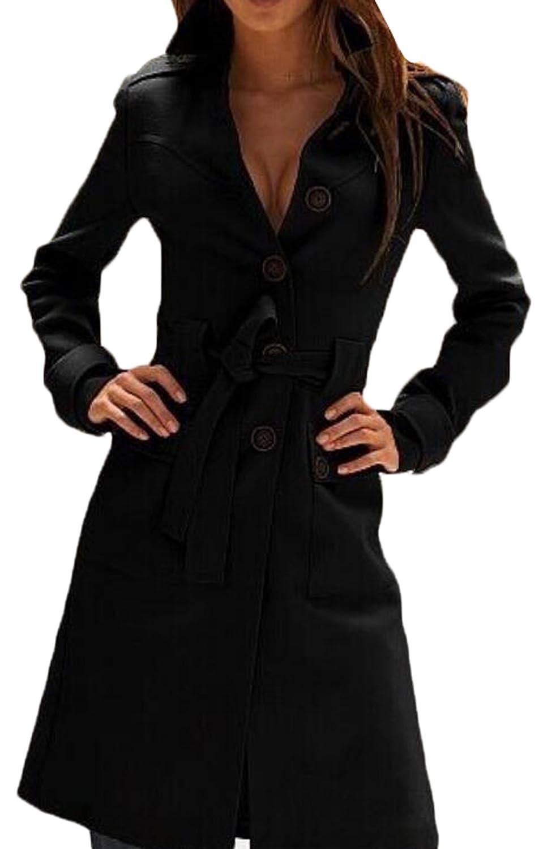 Generic Womens Elegant Belt Pocket Single-Breasted Woolen Outerwear