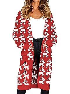 c1e6d9d181cd MARI CIAS Women's Long Sleeve Leopard Cardigans Pocket Open Knit Cardigan  Sweaters