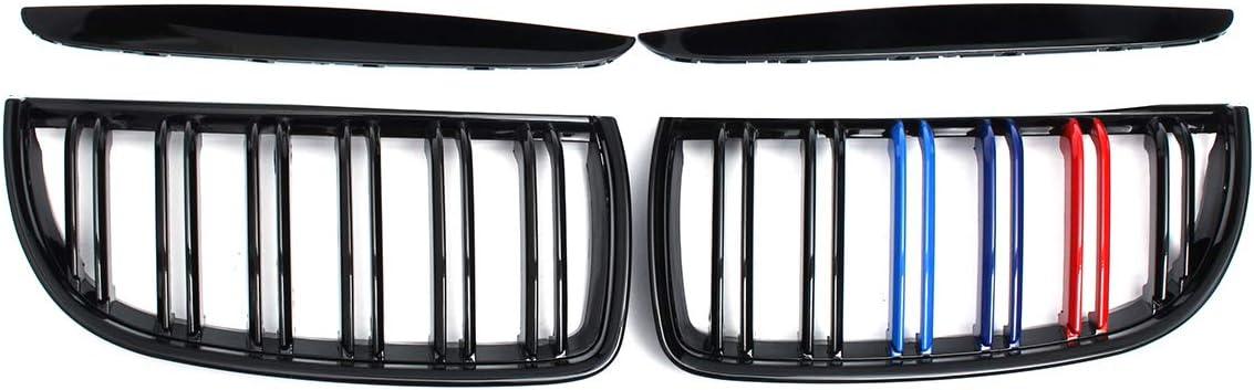 Viviance Pair Gloss Black M Color Front Kidney Grille Double Slat For BM-W E90 E91 04-07