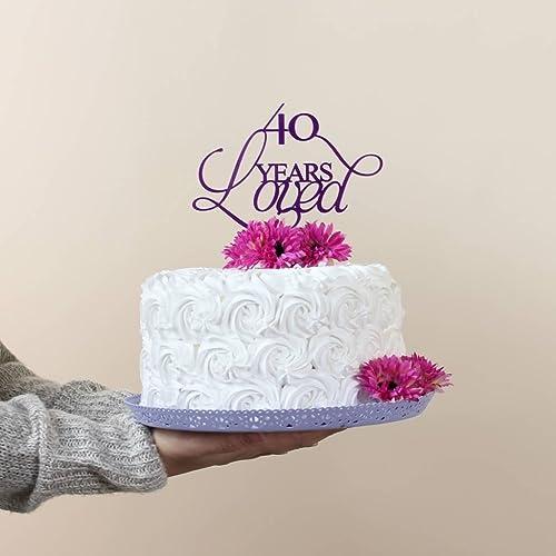 40 Years Loved Acrylic Cake Topper Amazoncouk Handmade