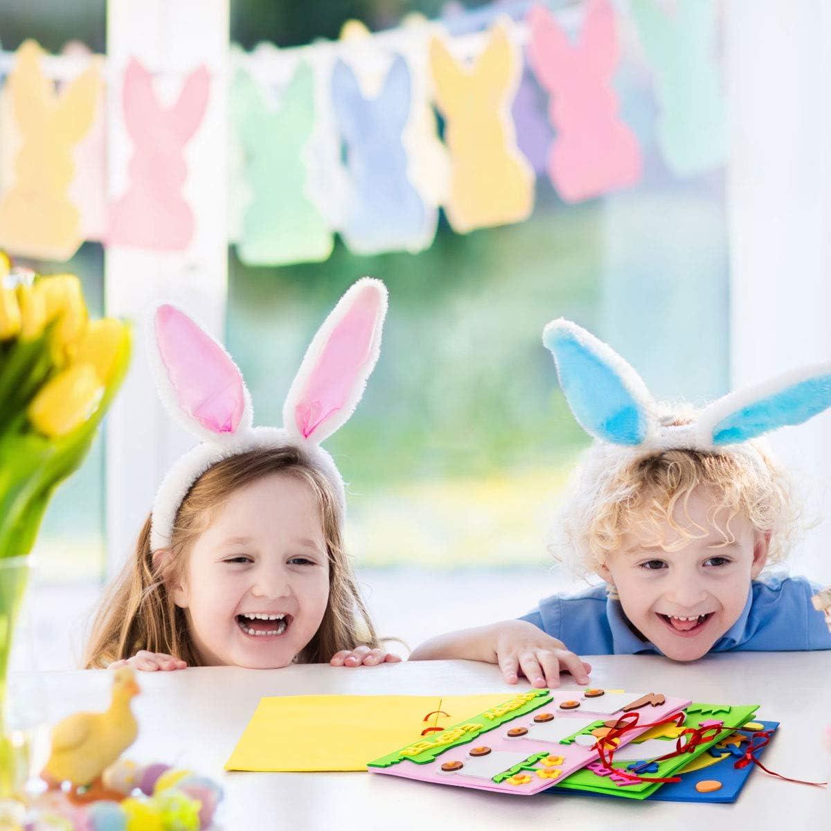 Uovo EVA Biglietti di Fai da Te Biglietti di Buona Pasqua Biglietti per Bambini 14 X 20CM Kesote Set di 4 Biglietti Pasquali di Coniglio