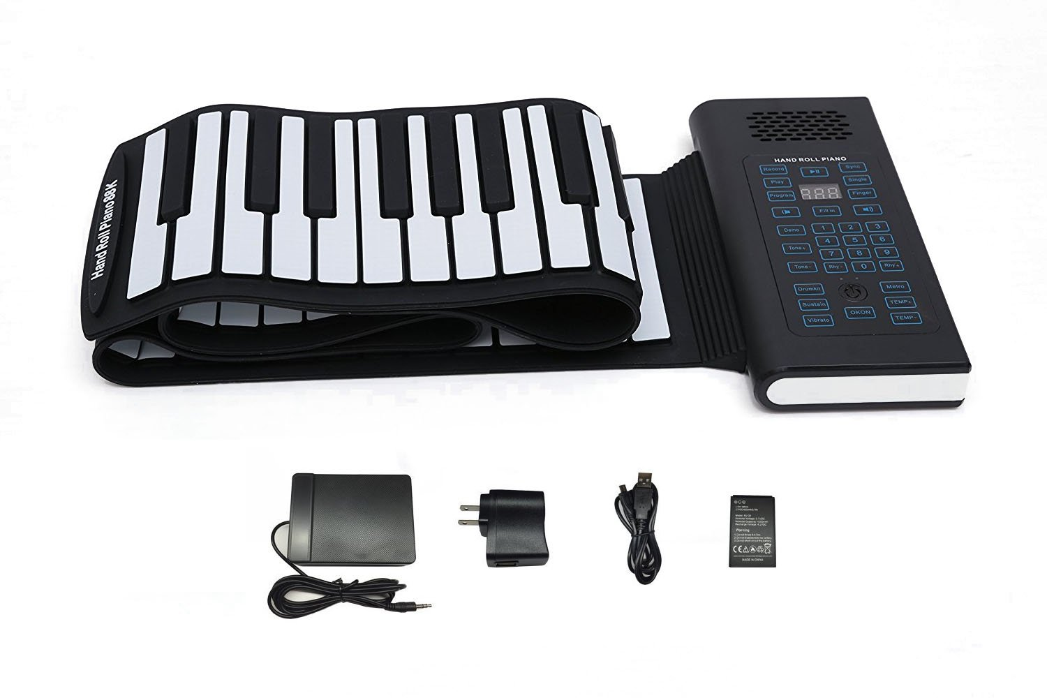 KMUSIC Roll Up Piano, Premium Grade Silicone, THICKENED KEYS, and Upgraded Built-in Amplifying Speakers - Educational Piano (A61-61 Keys, Black) by KikerMusic