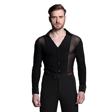 ff684f1eb YILINFEIER Men Sexy Transparent Mesh Long Sleeves V-neck Dance Shirts for  Ballroom Latin Square