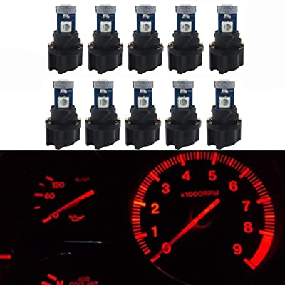 WLJH 10 Pack Red Canbus T5 Led Bulb 2721 37 74 Wedge Lamp PC74 Twist Sockets Dash Dashboard Lights Instrument Panel Cluster Leds Replacement: Automotive