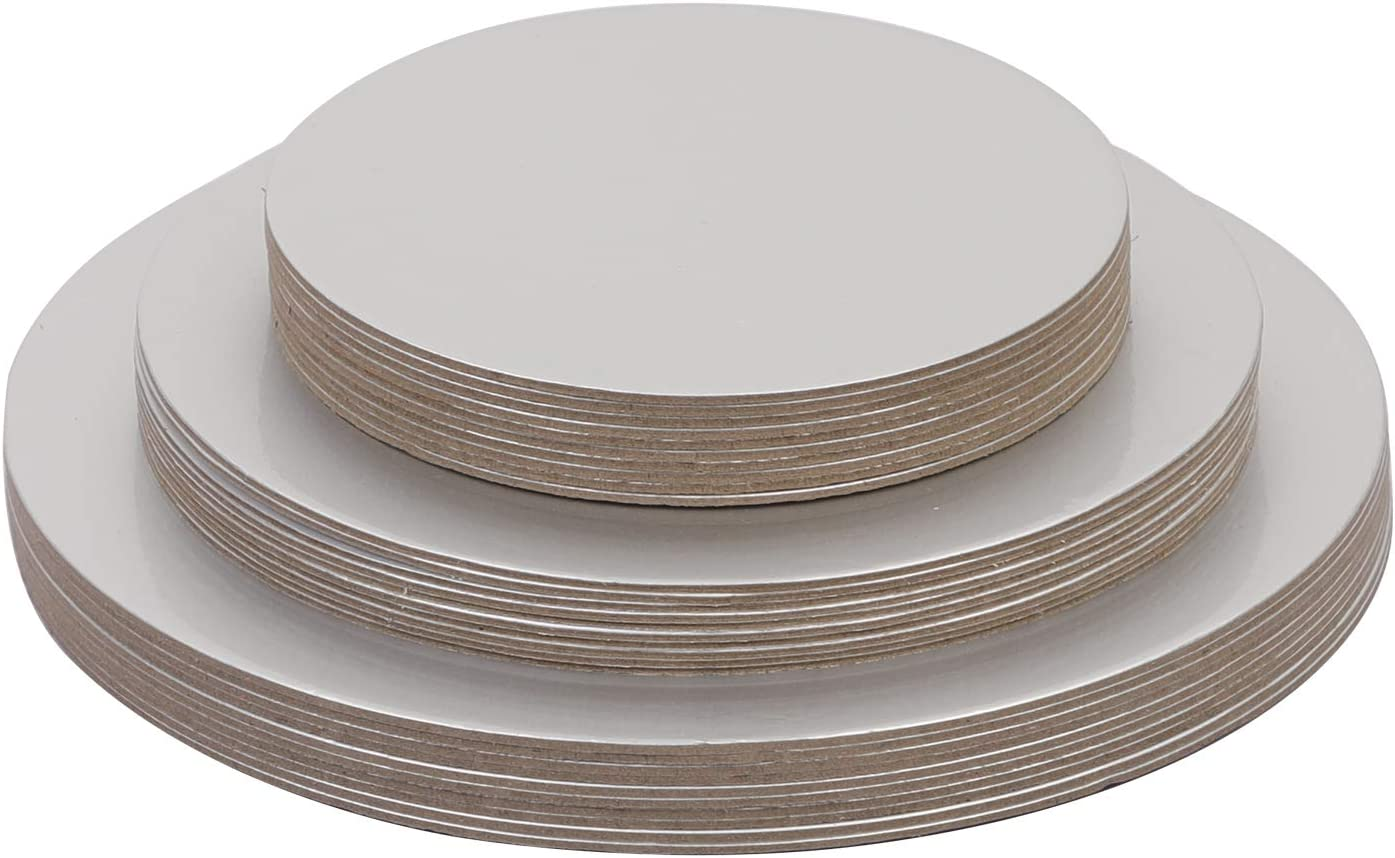 KEILEOHO 30 PCS 6 8 10 Inch Cake Boards Round Silver Cake Base,Cake Circles Food Class Laminating Greaseproof Disposable Reusable Cardboard Cake Drum Pizza Tart Tray