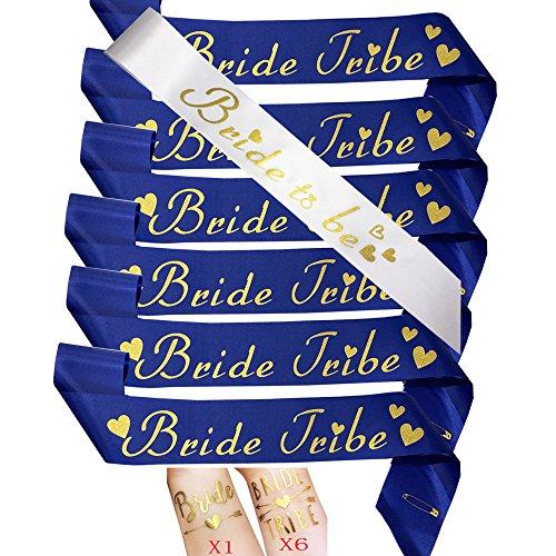 Bachelorette Party Decorations Bridal Shower Favors Bride Tribe Sash Kit 21 Pieces Include 7 Sash for Bride and Bride Tribe Sash,7 Pins,7 Golden Tattoos for Bride and Bride Tribe (Blue)