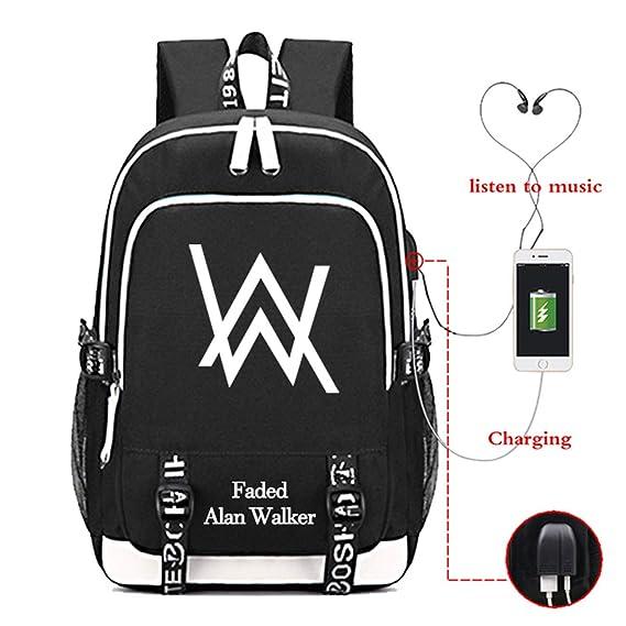 Rucksack Backpack USB Charging Girls Boys School Bag Night Luminous Women Strap