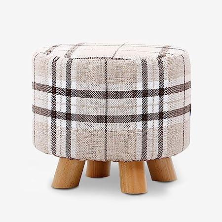 Modern Upholstered Tartan Footstool Ottoman Stool Pouffe 4 Wooden Legs Decor UK