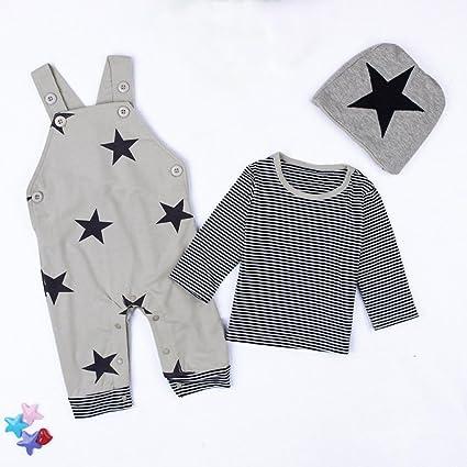 ❤ 3PCS Set para bebé recién Nacido, otoño Invierno Sets Stripe T-Shirt Top Pantalones Babero Conjunto de Trajes de Sombrero Conjunto Absolute: Amazon.es: ...
