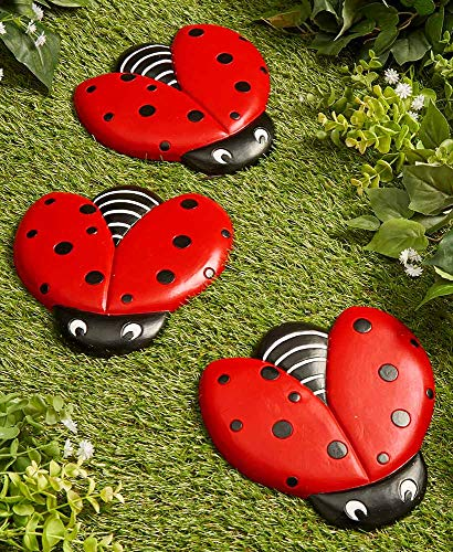 The Lakeside Collection Ladybug Stepping Stones for Gardens and Outdoor Flower Beds