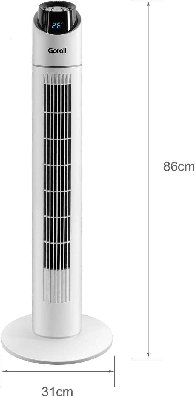 Gotoll Ventilatore a Torre Bianco 96CM con Telecomando,Ventilatori a Piantana 50W,Oscillazione 70/°,3 Velocit/à,3 Modalit/à Operative,15 H Timer,Display LED