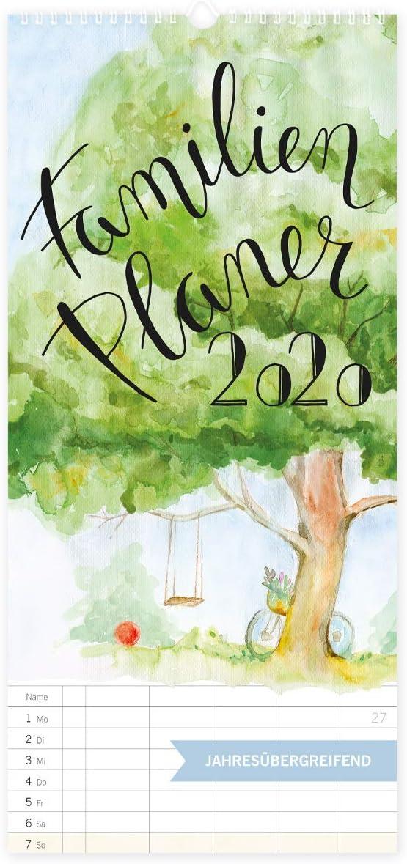 Calendario familiar 2020, con 5 columnas, XXL, calendario anual, calendario de pared para familias 2020, para colgar en vertical (idioma español no garantizado)
