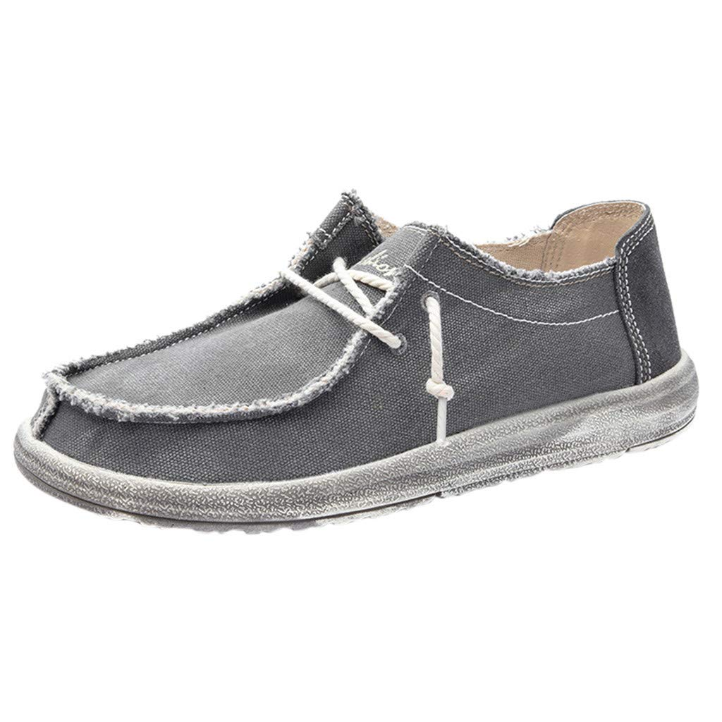 ZOMUSAR Men Canvas Breathable Casual Driving Shoes Slip Easy to Wear Flat Shoes Loafers Gray by ZOMUSAR