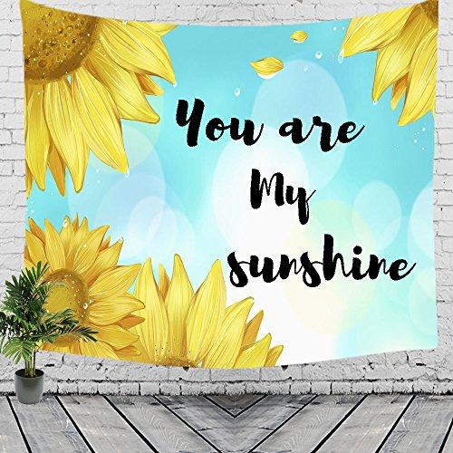 Decorate My Desk (You are My Sunshine Sunflower Hanging Tapestry Blanket Decorate for Home Bedroom Living Room Table (60x40)