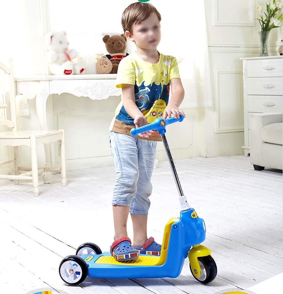 PLLP Niño Plegable Scooter-Scooter Kick Ajustable 2-en-1 Niños para 2-6 años Niños/niñas, triciclo de patada con amortiguación segura, pedal ancho, carga 40 kg,Azul