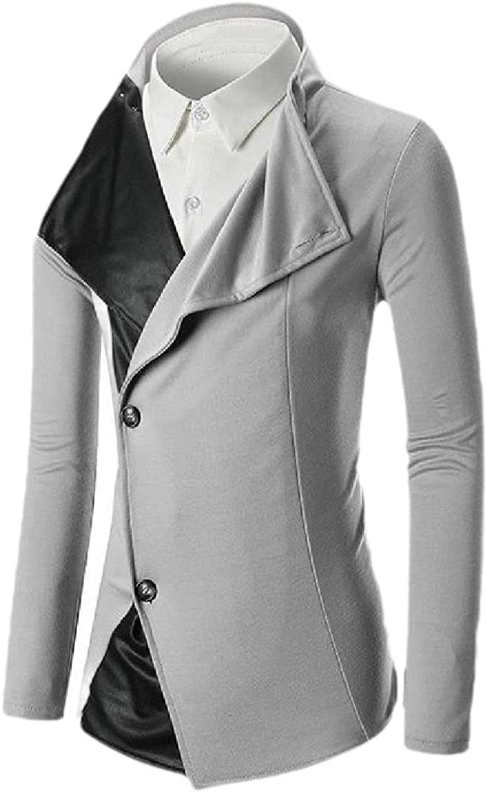 Comaba Mens 2-Button Spell Leather Slim Fall Winter Fashion Blazer Suit Jacket