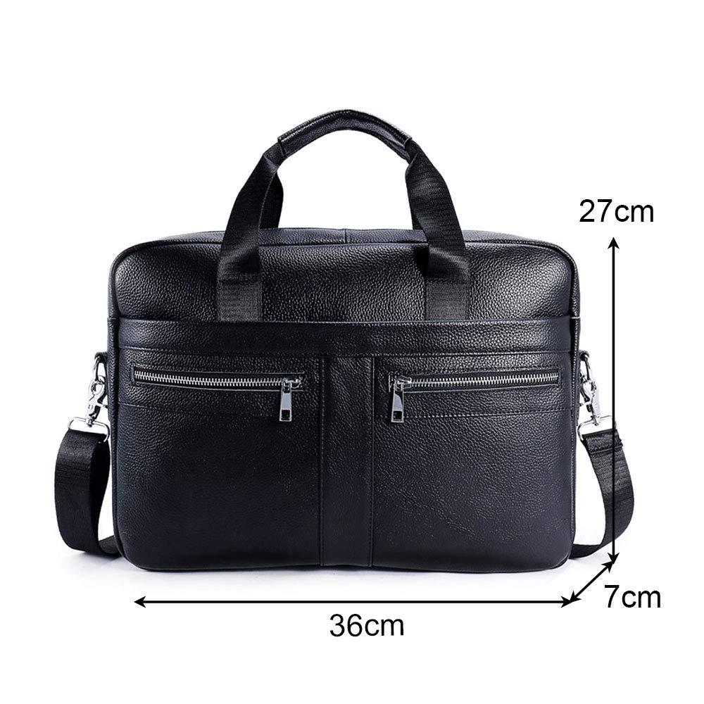 BAIGIO Men's 14'' Laptop Briefcase Genuine Leather Business Satchel Handbag Shoulder Tote Bag (Black) by BAIGIO (Image #2)