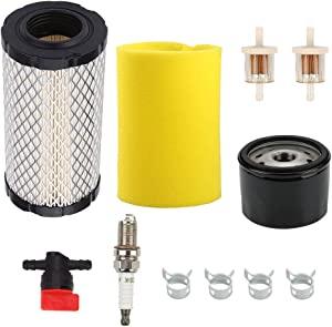 Wellsking 793569 793685 Air Filter for Briggs & Stratton Intek Series 20-21 Gross HP John Deere GY21055 MIU11511 Rotary 12673 Lawn Mower Tractor with 696854 Oil Filter