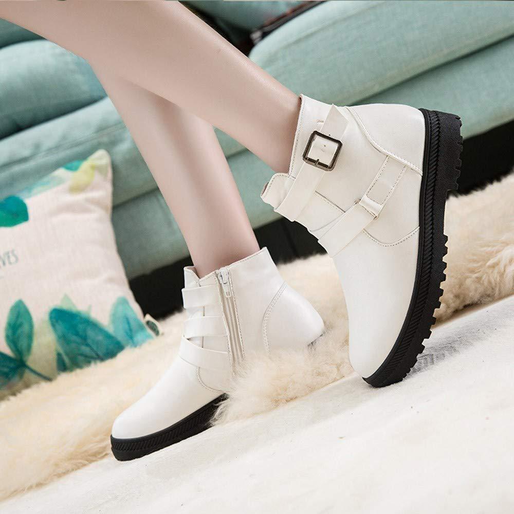 ❤ Botas Cortas de Invierno Mujer, Moda de Mujer Sólido Invierno cálido Nieve Plana Botas Cortas Cremallera Zapatos de Punta Redonda Absolute: Amazon.es: ...