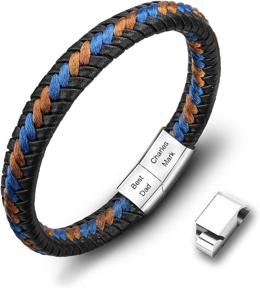 Casisto.J - Pulsera de piel para hombre, con grabado de acero inoxidable, color negro y marrón, trenzada, con cierre magnético y adaptador