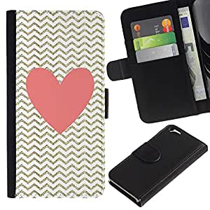 Planetar® Modelo colorido cuero carpeta tirón caso cubierta piel Holster Funda protección Para Apple (4.7 inches!!!) iPhone 6 ( Heart Pink Gold Classy Chique )