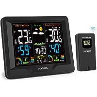 FOCHEA Stazioni Meteo Wireless, Digitale Stazioni Meteorologica con Sensore Esterno Schermo LCD a Colori per Previsione di Tempo, Monitor Temperatura umidità, Sveglia, Snooze, Tempo, Data