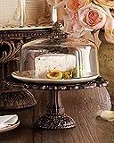 Cream Covered Dessert Pedestal - Burnished Bronze
