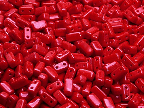 - 50 pcs Two Hole Czech Brick Glass Beads 3x6mm, Opaque Coral Red