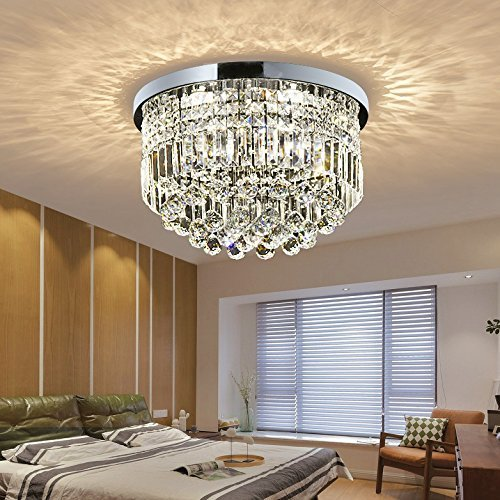 Saint Mossi Modern K9 Crystal Raindrop Chandelier Lighting Flush Mount LED  Ceiling Light Fixture Pendant Lamp For ...