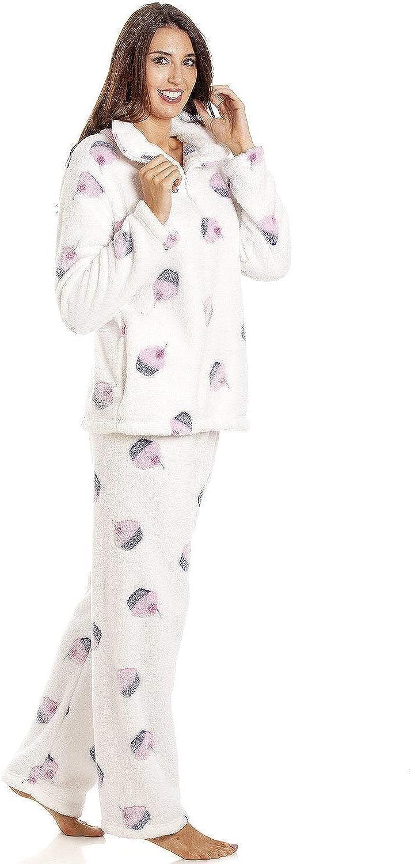 Details about  /Camille Womens Nightwear Supersoft Fleece Full Length Spot Pyjama Sets
