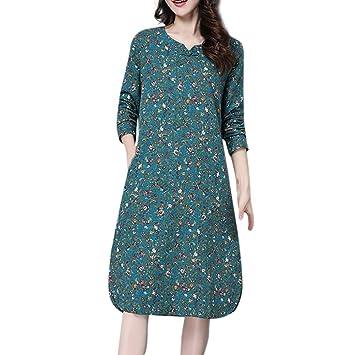779048030b838 LuckyGirls Vestido para Mujer Vestido de Cóctel Noche Fiesta Partido Retro  Suelto Estampado de Floral Manga Larga Elegantes Faldas Casual  Amazon.es   ...