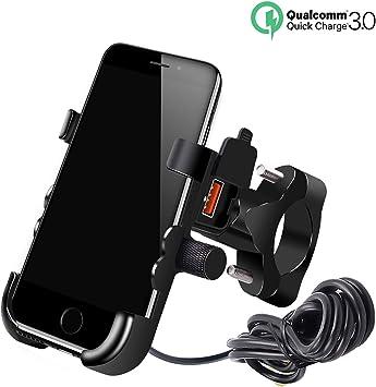 Bleu YGL Porte-t/él/éphone Moto avec Chargeur USB Support de T/él/éphone Mobile pour Moto Bicyclette