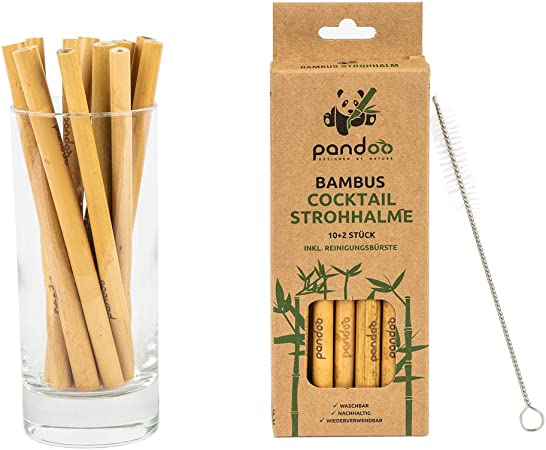 Compra pandoo Lote de 12 Pack Cóctel de Pajita de 100% bambú ...