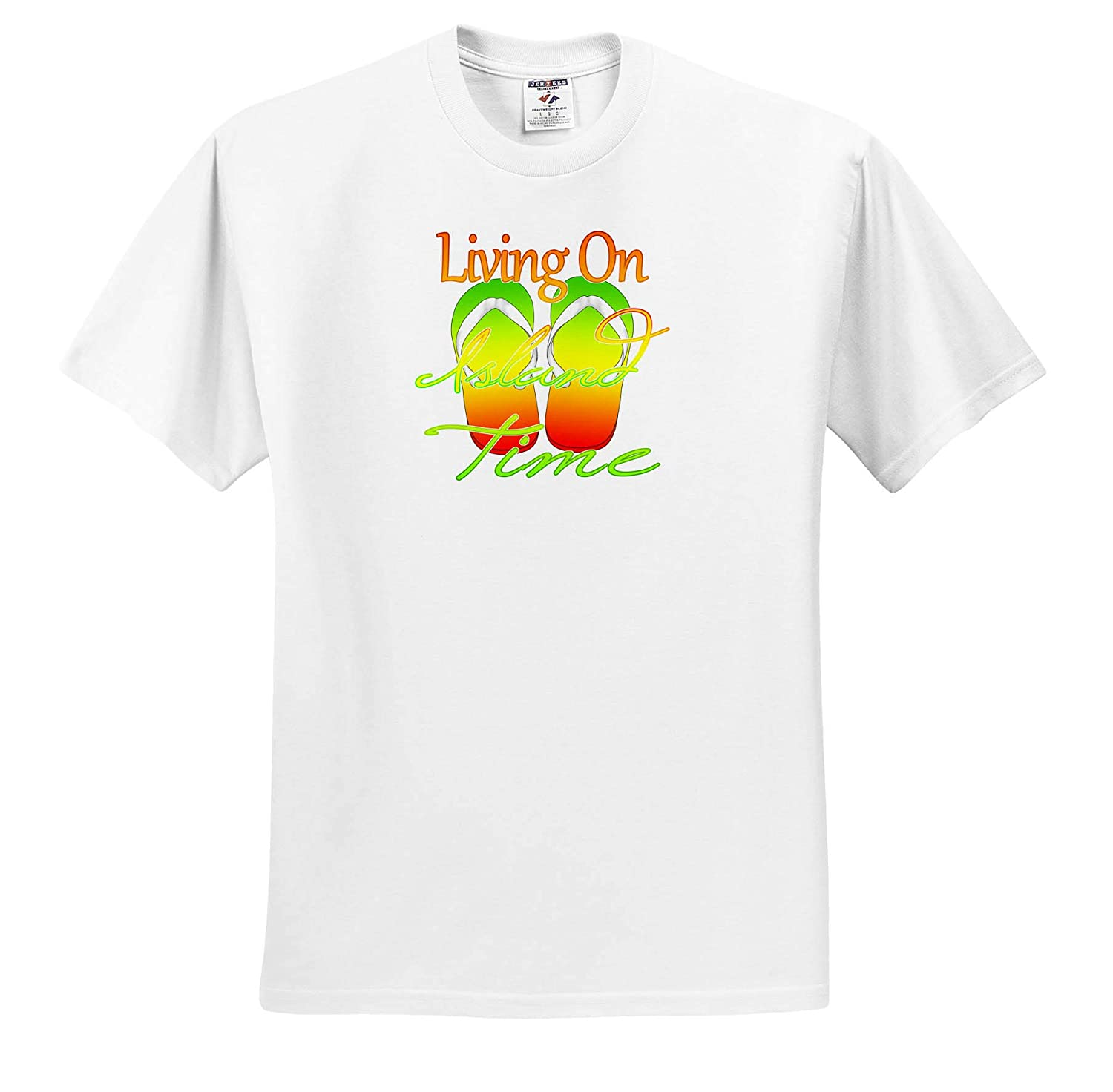 Islands Living On Island Time and Caribbean Island Color flip Flops 3dRose Macdonald Creative Studios - T-Shirts
