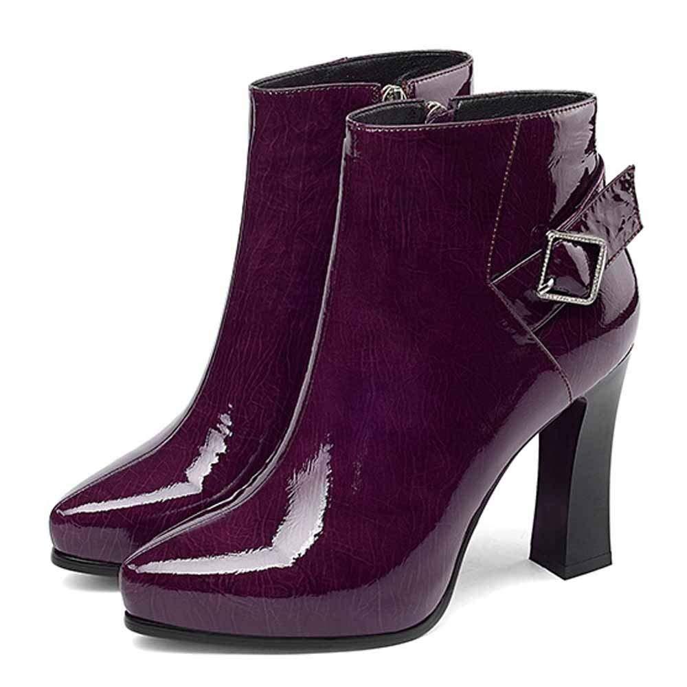 HWG-GAOYZ Schuhe Damen Stiefel Martin Herbst Winter Plus Plus Plus Fluffleder High-Heel Warme Rutschfeste,Wischwarzt-37 a59463