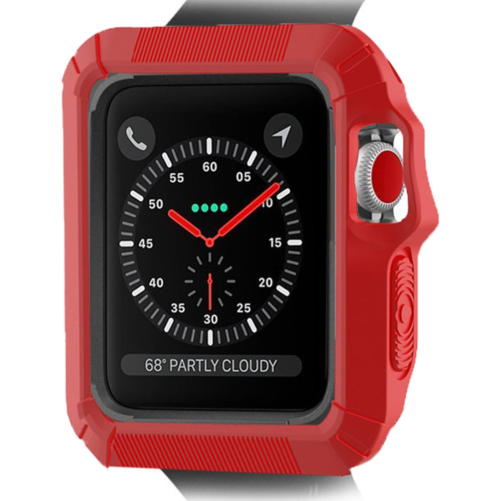 Apple Watch Case 38mm, Camyse  Apple Watch Case with Resilient Shock Absorption Protective Bumper Protector iwatch Cover for Apple Watch Series 3, Series 2, Series 1 Sport, Edition- Red by Camyse