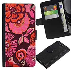KingStore / Leather Etui en cuir / Sony Xperia Z1 Compact D5503 / Orange Purple Flores rosas
