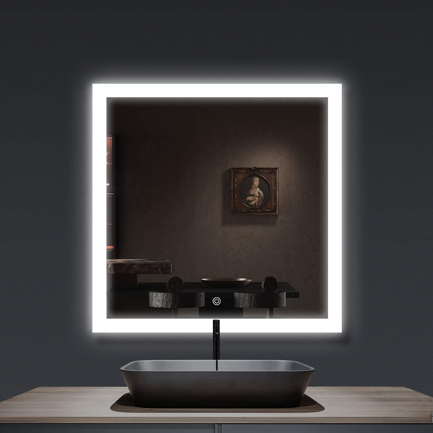 Amazon Com Smartrun Wall Mounted Led Lighted Backlit Mirror 36 X36 Square Bathroom Vanity Mirrors Round Control Button Dimmable Light Pannacle3636 Home Kitchen
