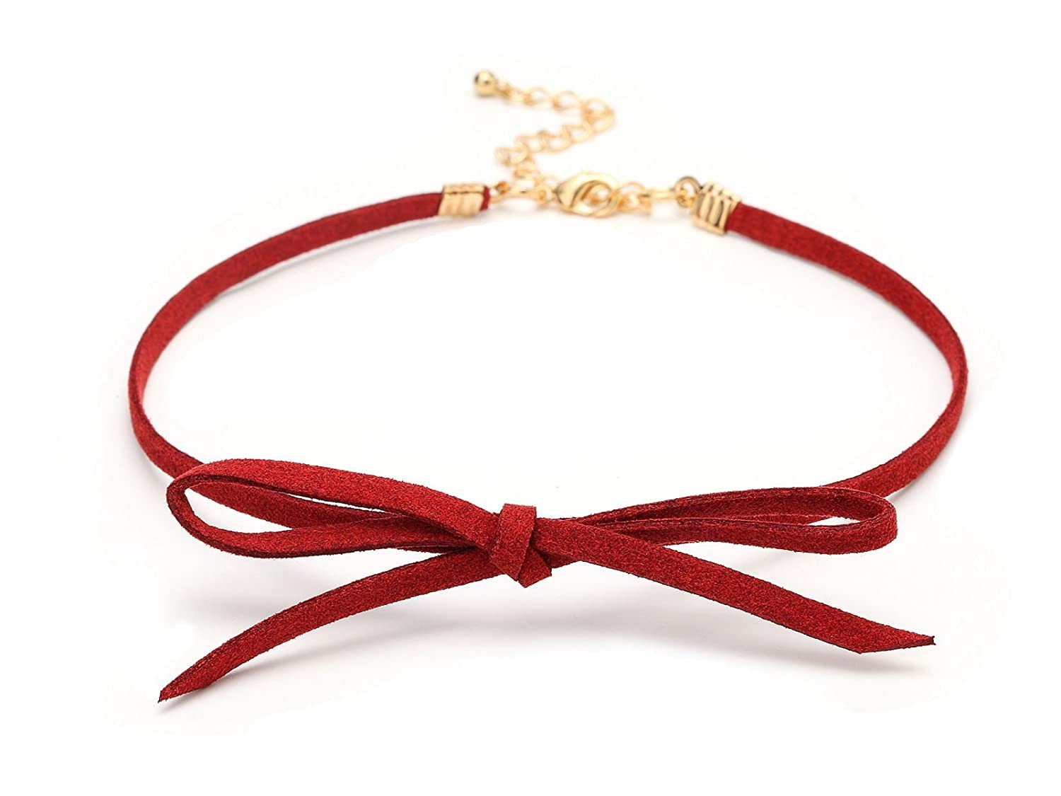Suede Red Bow Velvet Choker Necklace Punk Gothic Retro Chain CK6 ca-ck-bow-red034