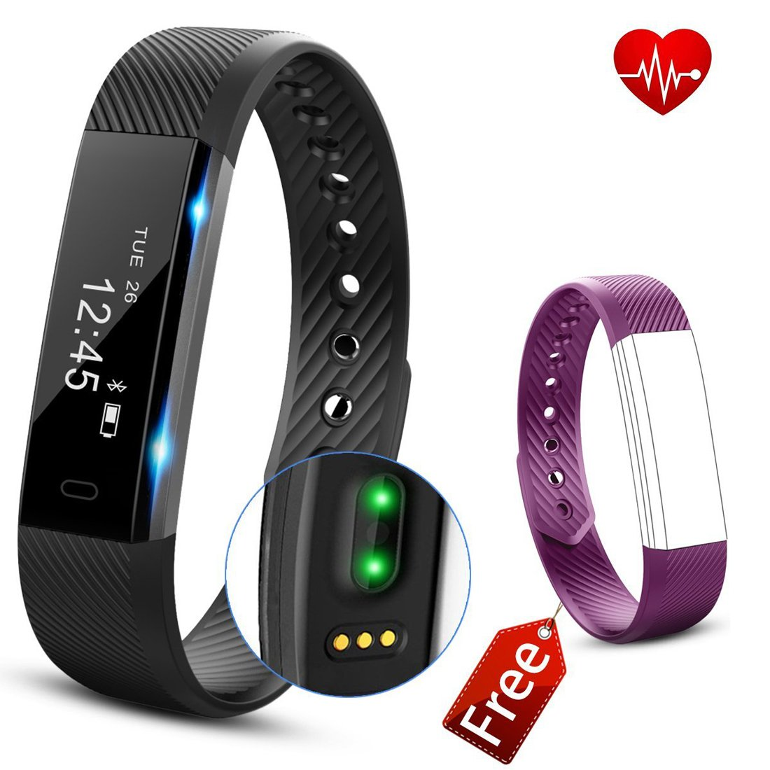Fitness tracker HR、Angelakerry Fitness Tracker Watch with Heart Rate Monitor、スリムタッチ画面、Wristbands、ウェアラブル防水活動トラッカー歩数計AndroidとiOSの B074T9FSZ8 Black-Purple