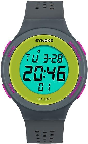Saingace(TM) Reloj Deportivo para niños, Reloj Digital, Sumergible a 50 m, multifunción, LED, Digital, Doble Reloj de acción, Color Estilo A - Gris, Deporte: Amazon.es: Deportes y aire libre