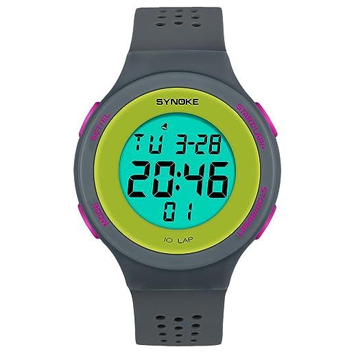 BOBOLover Multi-Función 50M Impermeable Reloj Led Digital Doble Acción Reloj,Movimiento Electrónico,Gris: Amazon.es: Relojes