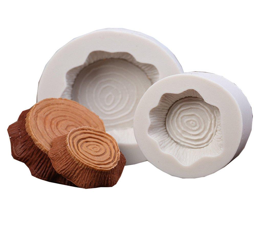 LALANG 2pcs Gray Craft Cake Molds Tree Stump DIY Tree Shape Silicone Mold for Fondant Baking Mold Bakeware