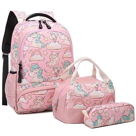 Meisohua School Backpacks Set Girls Unicorn Backpack with Lunch Bag and Pencil Case Kids 3 in 1 Bookbags Set School Bag for Elementary Preschool Water Resistant Pink