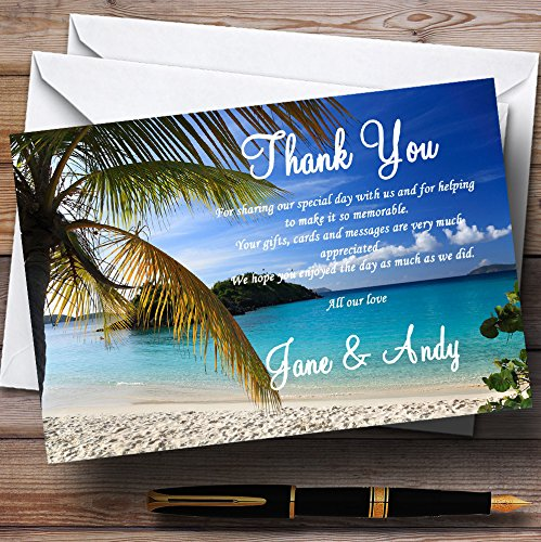 Palm Tree Beach Abroad Personalized Wedding Thank You Cards